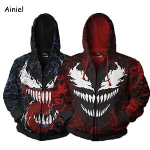 Venom Spider Man Кофты Повседневная Пальто Куртка с капюшоном Свитер Осень Зима Косплей Костюмы Человек-Паук Хэллоуин для Взрослого Человека