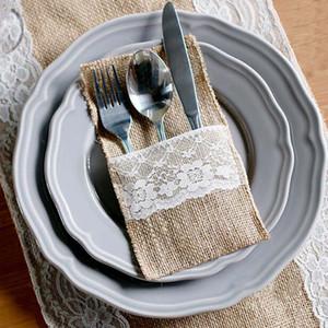 Vintage Düğün Dekorasyon Sofra Kılıfı Çatal Tutucu Çuval Bezi Dantel Rustik Dekor Tek Kullanımlık Parti Sofra