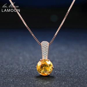 Lamoon 8mm 2ct citrino rotondo naturale 925 sterling silver catena pendente collana gioielli donna S925 LMNI041