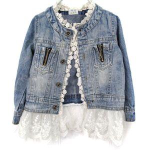 Niñas niños Jean chaqueta de abrigo Outwear Denim botón superior botón de encaje trajes trajes para niñas Hot Baby Girl ropa