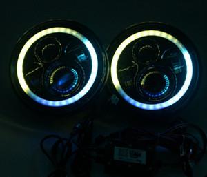 "7 inç LED RGB Far 7 ""DRL Far Yanıp sönen rgb Melek göz halo halka Bluetooth Kontrollü Jeep jk wrangler için"