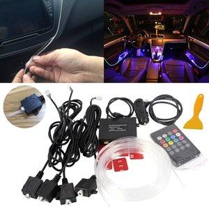 Atmosfera Lâmpada de Luz 8 cores Para Todo o Carro Tuning Interior Música Som Luz Do Carro Atmosfera Reequipamento Fibra Óptica Banda Luzes Dentro