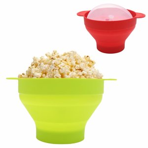 Bebek Besleme Popcorn Kapak Ve Saplı Silikon Bowl Mikrodalga Popcorn Popper Katlanır Silikon Bowl BPA kase