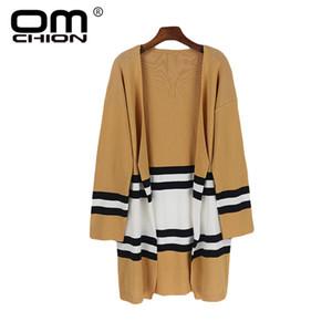 Großhandel casaco feminino 2018 herbst koreanisch gestreiften langen strickjacke frauen lose taschen casual stricken pullover mantel warme jumper ls98