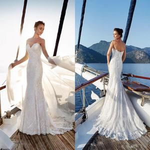 Vestidos de novia de encaje completo de sirena 2019 Sweetheart Tulle Long Sweep Train Beach Country Boda Vestidos de novia