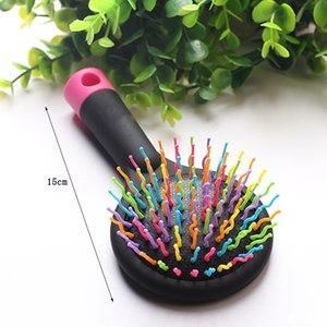 1 stück Double Side Rainbow Volumen antistatische Magie Detangler Hair Curl Gerade Massage Kamm Pinsel Styling Werkzeuge Mit Spiegel