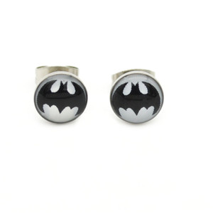 Black Batman Ear Stud Hero surgical steel studs Earrings 8mm Wholesale Ear Pin Popular Design