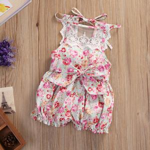 2pcs Baby Set Newborn Kids Baby Girls одежда лето без рукавов спинки кружева цветочный комбинезон Комбинезон + Hat детские наряды одежда