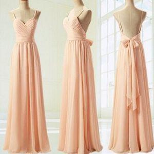 Más barato vestidos de damas de honor simples de gasa 2019 Peach Pink A line V Neck Maid of Honor Gowns Custom Make BM0171