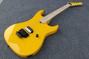 Personalizado Kramer Edward Van Halen 5150 Guitarra Elétrica Amarela Floyd Rose Tremolo Ponte, Único Pickup, Maple Neck Fretboard, Hardware preto