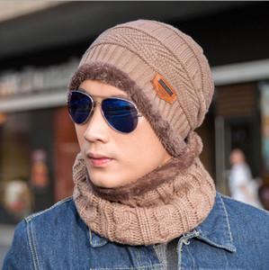 Hüte Designer Hut 11 Farben Herbst- und Winterhut Herrenhüte Strickwolle Mütze plus Samt Verdickung Mütze [Hut + Kragen] setzt NE-cap1