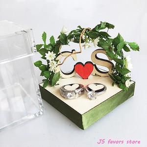Spedizione gratuita pro 1 pz personalizzato Acrilico legno Verde vite arco di fidanzamento proposta di matrimonio decorazione di nozze cuscino anello manuale