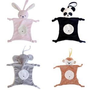 봉제 아기 보안 담요 장난감 베이비 샤워 선물 동물 완구 버니 코끼리 팬더 소프트 베이비 수딩 타월 래틀 장난감