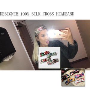El mejor regalo para mujer Diseñador 100% seda Cruz Flores Diadema Moda Elastic Star Hairband Para Mujer Chica Retro Turbante Headwraps