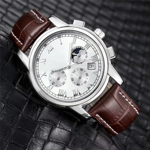 Moda de acero inoxidable Reloj de cuarzo Hombre de cuero Relojes del movimiento de Japón Relojes a prueba de agua de 40 mm para hombre Función noctiluciente