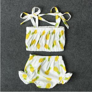 Chica Piña Imprimir traje de baño Bebé niña Traje de baño Dos piezas Niños Verano Bikini Establece Ropa de bebé CNU 008