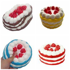 12 cm Squishy Cake Fraise Parfum Crème Rose Jaune Rouge Café Bleu Fidget Jouet Jumbo Décor Slow Rising Squishies pour enfants enfants Cadeau