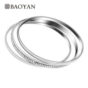 Kadın Takı için 3`lü Gümüş Renk Kristal Bileklik Set bütün saleBaoyan 316L Paslanmaz Çelik Moda Bayan Toptan Paketi