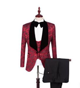 New Jacquard Groomsmen Big velet Shawl Lapel Groom Tuxedos Custom Made 4 colors Men Suits Wedding Best Man Blazer (Jacket+Pant+Bow Tie+Vest)