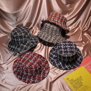 2018 Autunno Inverno Donna Cappello benna Cappelli Chic Plaid 5 colori Fisherman Panama Cappelli di tweed di alta qualità D18110601