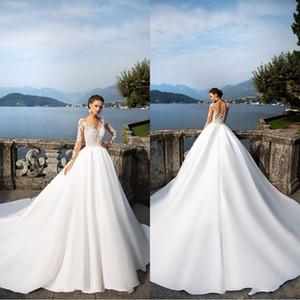 Milla Nova Sheer maniche lunghe abiti da sposa 2020 pulsanti Indietro Lace Appliques raso abito di sfera Abiti da sposa Beach Wedding Gowns ba4502