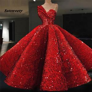 Étincelle musulman robes de soirée robe de bal-shulder rouge Paillettes islamique Dubaï Kaftan Arabie arabe longue robe de soirée