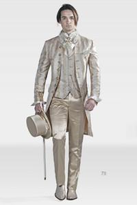 Fashion Embroidery Three Piece Groom Tuxedos Long Men Wedding Suit Bridgroom Men Dinner Prom Wear Customize(Jacket+Pants+Tie+Vest) 402