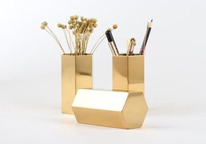 Pen Pencil Ruler Cup Holder Desktop Stationery Organizer - Hexagon Design Brass Metal Brush Pot Desk Stationery Organizer - Home office vase