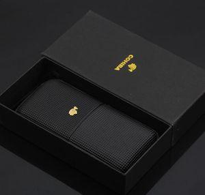 COHIBA Buena calidad Color negro Humidor de cuero puede contener 3 cigarros con caja de regalo de color negro