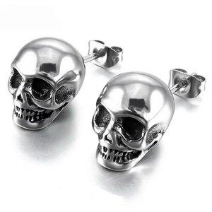 Vintage Stud Retro Glossy Skull Acciaio inossidabile Orecchini uomini e donne Punk Rock orecchio gioielli moda creativa orecchini