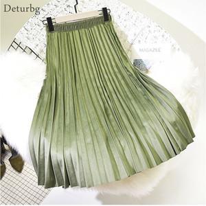 Deturbg женская мода плиссированные бархат юбка дамы повседневная эластичный высокой талией Pleuche Midi юбки Saias 2018 осень зима SK221