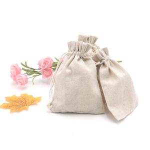 Atacado! Impressas 100 por cento musselina de algodão Drawstring Bags Natural não Branqueada cores para Party Favor de casamento e DIY Craft 200pcs / lot