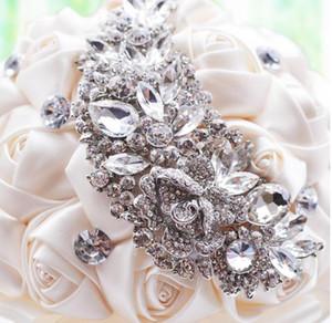 2018 Nouveau Cristal Broche Bouquet De Mariage Accessoires De Mariage Demoiselle D'honneur Artificielle Fleurs De Satin Fleurs De Mariage Bouquets De Mariée