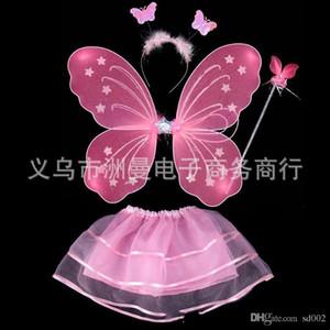 Kinder Leistung Kostüm Prop Butterfly Engel Flügel Magic Bar Monolayer vier Stück Anzug Farbe Fairy Wand 7 3zm ii