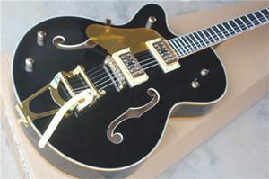 Main gauche Touche Ebène Custom Shop Noir Corps Creux 6120 Jazz Guitare Électrique Golden Binding Hardwarer