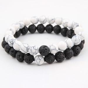 Hochwertige Lava Rock Perlen Armbänder set Naturstein Weiß Türkis Charm 7 Farbe Chakra Buddha Perlen Armreifen Für Modeschmuck