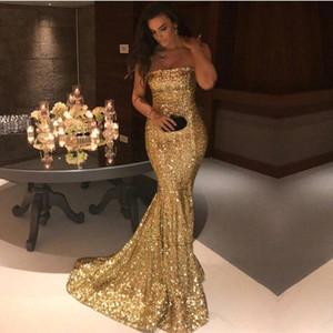 Pırıltılı Altın Sequins Denizkızı Gelinlik Modelleri 2020 vestidos de Fiesta Straplez Kat Uzunluğu Balo Abiye Arapça Kadınlar Akşam Parti Elbise BA7407