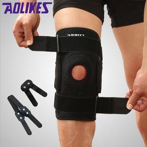 2pcs genouillère avec charnières polycentriques sécurité sportive professionnelle support de genou noir genouillère garde protecteur sangle Joelheira