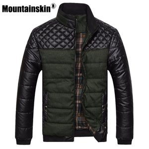 Mountainskin  Men's Jackets and Coats 4XL PU Patchwork Designer Jackets Men Outerwear Winter Fashion Male Clothing SA004