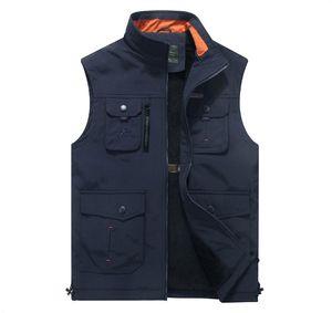 Ropa Hombres Chaleco Moda Multi-bolsillos Chaleco Ropa de abrigo masculina Cuello alto para hombre Chaleco de lana cálido Chaleco de poliéster