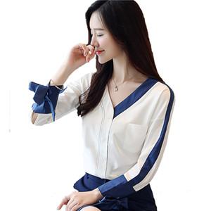 İndirim Sonbahar Kadın Üst Feminino Bayanlar Gömlek Uzun Kollu Beyaz Gömlek kadın V Yaka Şifon Gömlek Bayan Üstleri ve Bluzlar OL Shein