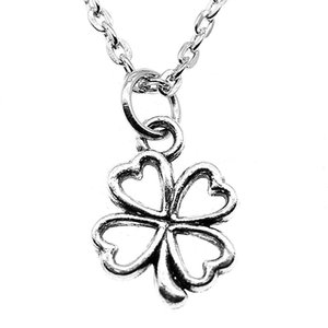 WYSIWYG 5 Pieces Metal Chain Necklaces Pendants Women Necklace Jewelry Small Hollow Lucky Clover 17x13mm N2-B13494