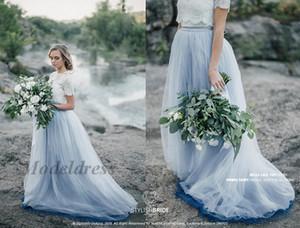 2018 Fairy Beach Boho Robes De Mariée Une Ligne Dentelle Tops Doux Tulle Capped Manches Courtes Bleu Jupes Plus La Taille Robe De Mariée Bohème