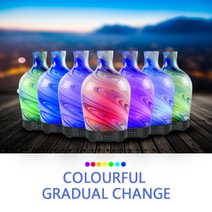 100ml Glass Aromatherapy Humidifier Essential Oil Diffuser Ultrasonic Quiet 7 Color Light Home Office Living Room Spa Yoga