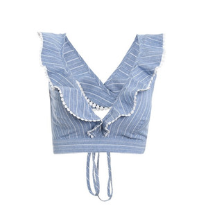 Sweety Elegante Ruffle Stripe Print Tank Top Sexy V Backless Summer Crop Top Cami Mujeres Lace Up Casual Camisole Tank Blusa