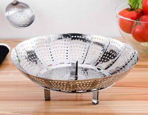 Aço inoxidável dobrável Steamer Multifuncional vegetal Fruit Basket Cozinhar metal rack Food Steamer ferramenta da cozinha