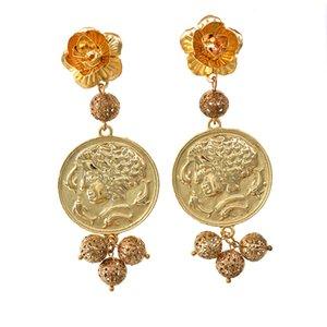 New Design Baroque Vintage Gold Charm Drop Earrings Retro Elegant Round Earrings Women temperament Luxury decoration