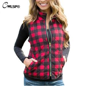 CWLSP 2017 Slim Frauen Red Plaid Weste Reißverschluss Taschen Wild Fashion Top Qualität SpringAutumn Frauen Weste Sleeveless Jacke
