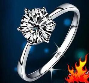 Rápido Frete grátis Real Fine Classic seis garra um quilate 1ct anel de diamante 925 sterling anel de prata casal anéis mulheres casar com o noivado casamento