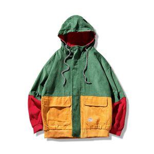 Мужчины весна цвет блок лоскутное вельветовые куртки с капюшоном мужчины хип-хоп толстовки пальто мужской свободного покроя горячая распродажа уличная верхняя одежда